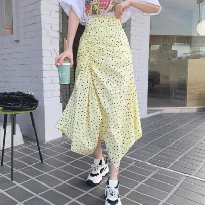 cherryville レディース スカート Gorgeous dot shirring unbal skirt
