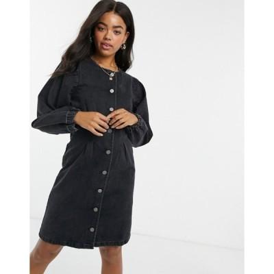 ピーシーズ レディース ワンピース トップス Pieces denim button up mini dress with puff sleeves in black