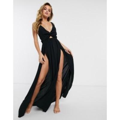 エイソス レディース ワンピース トップス ASOS DESIGN tie back beach maxi dress with twist front detail in black Black