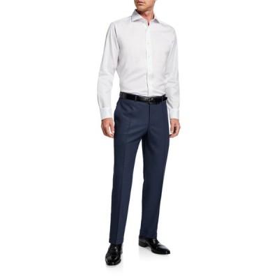 カナーリ メンズ カジュアルパンツ ボトムス Men's Impeccabile Serge Wool Pants, Blue