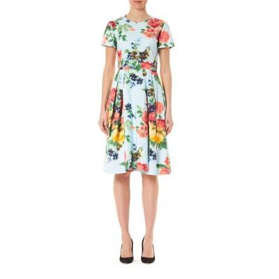 キャロライナヘレラ レディース ワンピース トップス Floral Print Poplin Short-Sleeve A-Line Dress
