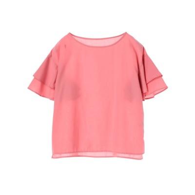 グリーンパークス Green Parks 袖ティアードフリルブラウス (Pink)