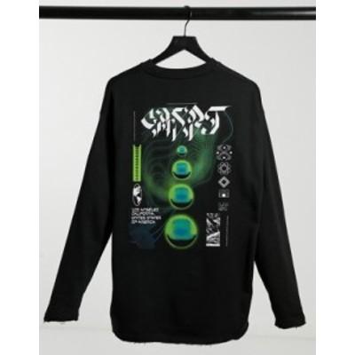 エイソス メンズ シャツ トップス ASOS DESIGN oversized sweatshirt with back print and raw hem detail Black