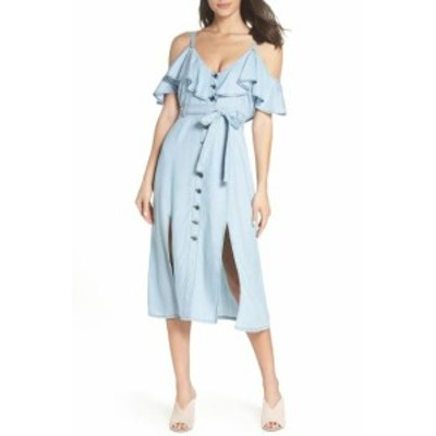 BB Dakota BB ダコタ ファッション ドレス BB Dakota Womens Blue Size 2 Denim Cold Shoulder Midi Sheath Dress