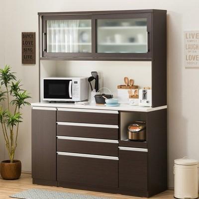 食器棚(レジューム 150TG-S DBR/150SH-R DBR) ニトリ 『配送員設置』 『5年保証』