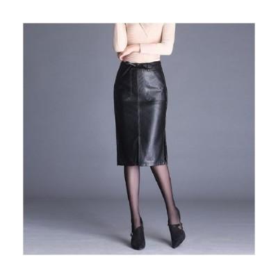 大きいサイズ タイト スカート レザー 革 フェイク スリット ブラック クール かっこいい お洒落 秋 冬 かわ大 キレセク