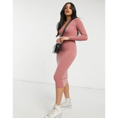 ニュールック レディース ワンピース トップス New Look frill neck ribbed midi dress in pink Pale pink