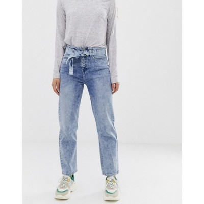 エイソス レディース デニムパンツ ボトムス ASOS DESIGN farleigh high waist straight leg jeans with belt detail in acid wash
