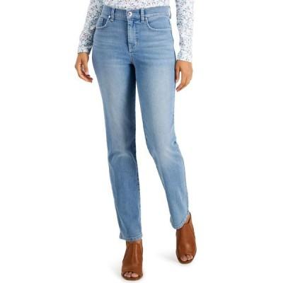 スタイルアンドコー レディース デニムパンツ ボトムス Petite High-Rise Natural Straight-Leg Jean