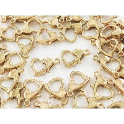 カニカン ハート ゴールド KC金 50個 10mm 金具 留め具 留め金具 ストラップ ネックレス ブレスレット アジャスター パーツ (AP0754)