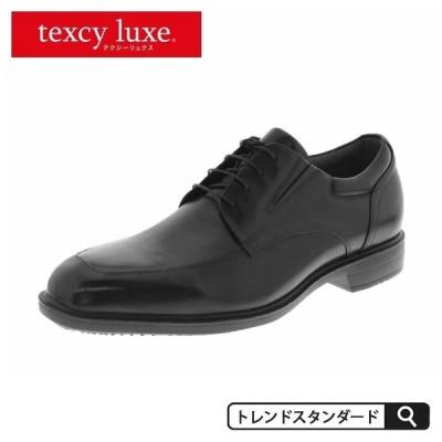 防水ビジネスシューズ 革靴 レースアップ アシックス スクエアトゥ メンズ texcy luxe テクシーリュクス 本革 レザー 黒 ブラック 消臭 3E 抗菌 滑り止め