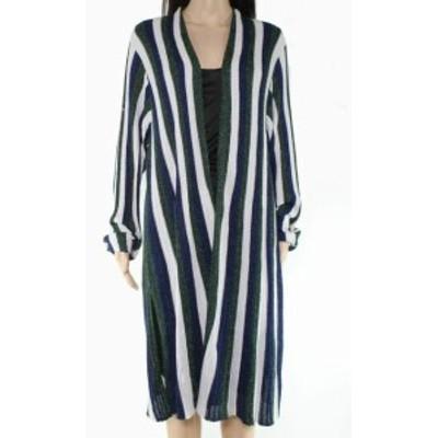 ファッション トップス INC Womens Sweater Blue Multi Size 3X Plus Cardigan Striped Shimmer