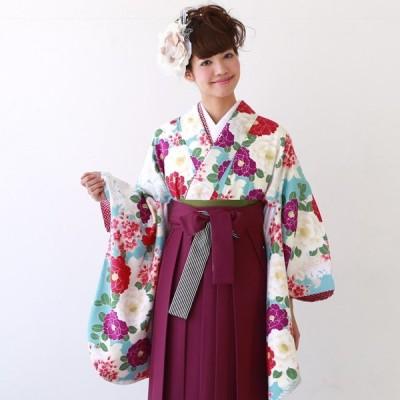 卒業式 袴 レンタル 女 卒業式袴セット 2尺袖着物&袴 フルセットレンタル「水色地に赤と紫・白の八重椿とピンクぼかし桜」九重 ここのえ