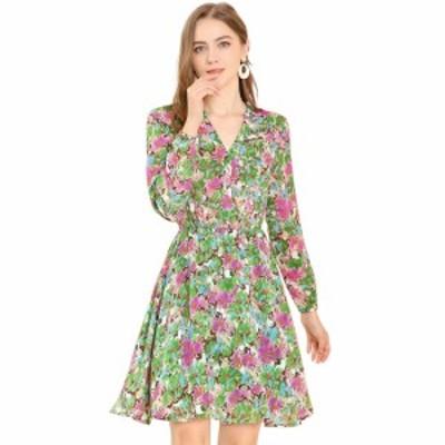 Allegra K フレア花柄ワンピース ドレス aライン Vネック ボタンアップ 長袖 `ウェストゴム レディース グリーン XS