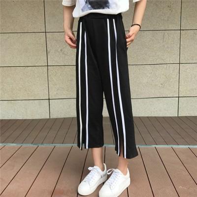 韓国 原宿系 ファッション レディース カジュアル スポーツ ロングパンツ カラフル  個性的 かわいい 奇抜 青文字系 パンツ