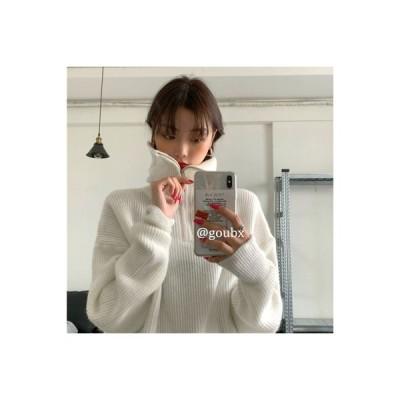 【送料無料】~ ルース 襟 ジッパー 長袖のセーター | 346770_A63955-7723757