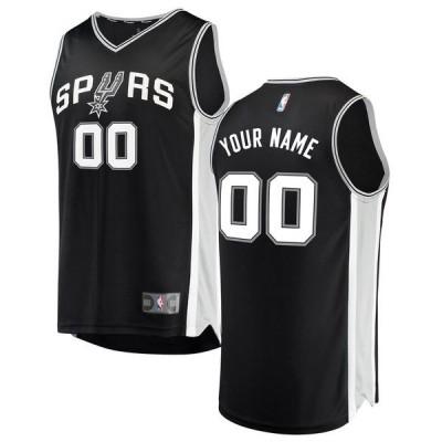 ファナティクス ブランデッド メンズ Tシャツ トップス San Antonio Spurs Fanatics Branded Fast Break Custom Replica Jersey Black