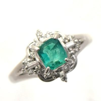 リング プラチナ900 エメラルド 0.48ct ダイヤモンド 0.21ct 9.5号 レディース ジュエリー