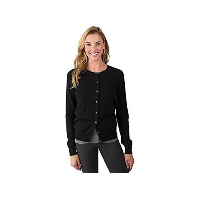 JENNIE LIU Women's 100% Cashmere Button Front Long Sleeve Crewneck Cardigan