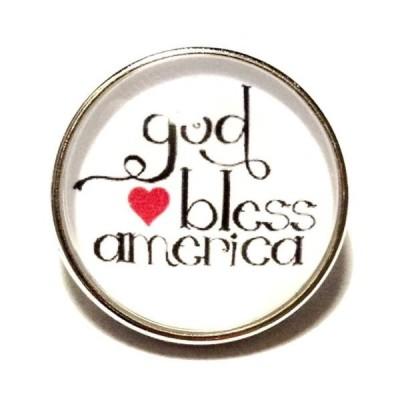 チャーム ブレスレット ハンドメイド White Red Heart GOD BLESS AMERICA 20mm Snap Interchangeable Fits Ginger Snaps