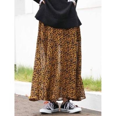 アニマルプリントスリットスカート