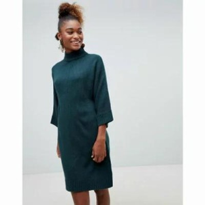 モンキー ワンピース high neck knit dress in dark green Green