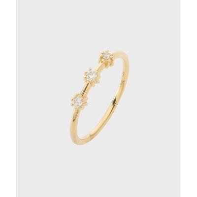 COCOSHNIK(ココシュニック) K18ダイヤモンド 爪留め3石 リング