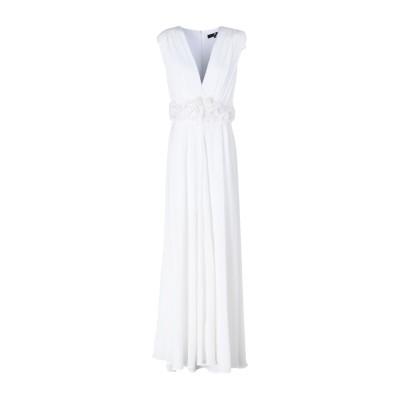 ELISABETTA FRANCHI ロングワンピース&ドレス ホワイト 44 ポリエステル 100% ロングワンピース&ドレス