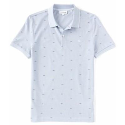 ラコステ メンズ シャツ トップス Slim-Fit Allover Croc Print Pique Short-Sleeve Polo Shirt Phoenix Blue