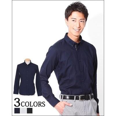 シャツ メンズ 長袖   形態安定・立体裁断シャドウチェック前立てデザインボタンダウンシャツ Biz