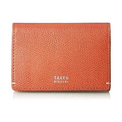 (タケオキクチ)財布 メンズ 名刺入れ 二つ折り カードケース マチあり 大容量 カード収納 キャーロ (オレンジ Free Size)