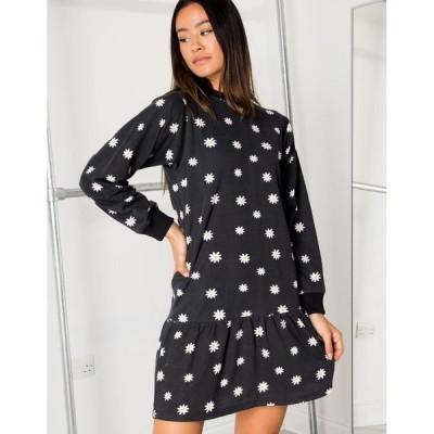 デイジーストリート レディース ワンピース トップス Daisy Street mini dress with peplum hem in daisy print Black