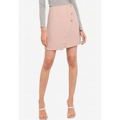 ザローラ ZALORA レディース ミニスカート スカート Button Detail Overlap Skirt Stone