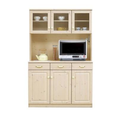 キッチンボード ダイニングボード 食器棚 レンジボード 幅114 ハイタイプ カントリー調 キッチン収納 天然木 パイン 無垢