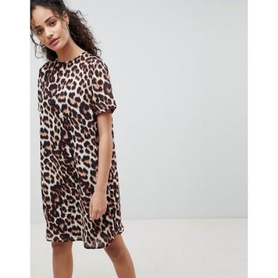 エイソス レディース ワンピース トップス ASOS DESIGN Sheer Shift Mini Dress in Leopard Print Animal print