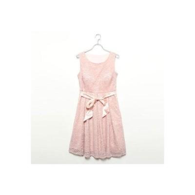 スタイルブロック STYLEBLOCK ウエストリボン付フラワーレースAラインパーティーミディドレス (ピンク)