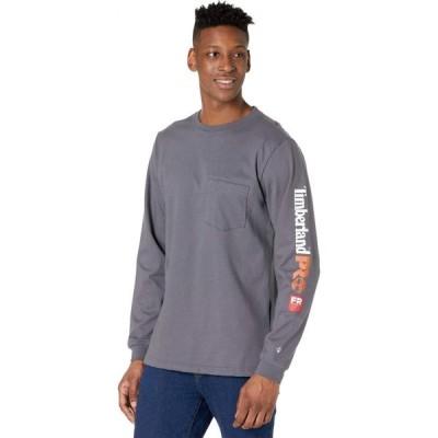 ティンバーランド Timberland PRO メンズ 長袖Tシャツ ポケット トップス FR Cotton Core Long Sleeve Pocket T-Shirt with Sleeve Logo Charcoal
