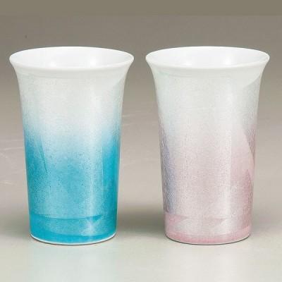 【九谷焼 陶器 カップ・酒器 】 九谷焼 ペアフリーカップ・銀彩 サイズ: 径 8.5cm×高 13.0cm 化粧箱入り ギフト