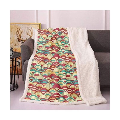 Scale Sherpa Blankets,Repeated Pattern of Striped Squama in Retro Style Lightweight Fluffy Flannel,Couch Cushions Blanket(60x80 Inches,Pale