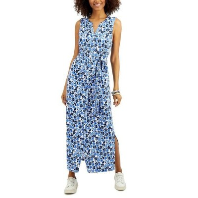 チャータークラブ ワンピース トップス レディース Petite Floral-Print Dress, Created for Macy's Intrepid Blue Combo