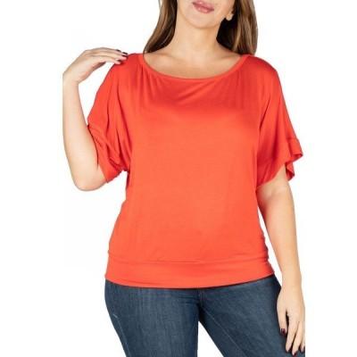 24セブンコンフォート カットソー トップス レディース Women's Plus Size Short Sleeve Loose Fitting Dolman Top Burnt Oran