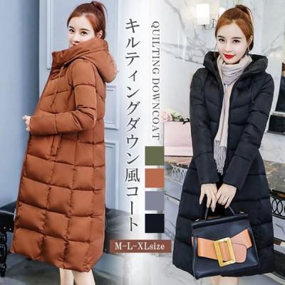 棉コート ロングコート ジャケット フード付き アウター 保温性 軽い 暖かい ポケット付 冬 防寒 コンパクト キルティング レディース