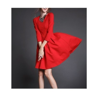 七分袖丈ラウンドネック シンプルで大人可愛いドレス♪3色