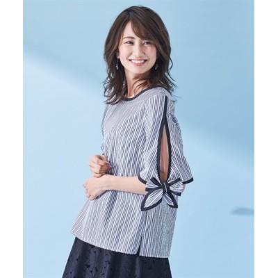 【大きいサイズ】 スタクロ 綿100%袖口リボンストライプブラウス  plus size shirts, テレワーク, 在宅, リモート