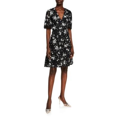 リラローズ レディース ワンピース トップス Floral Printed Corded Lace V-Neck Dress