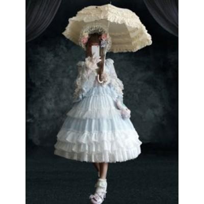 ベビーブルー 甘いロリータOPドレス 4ピースセット フリル 長袖ロリータワンピースドレス