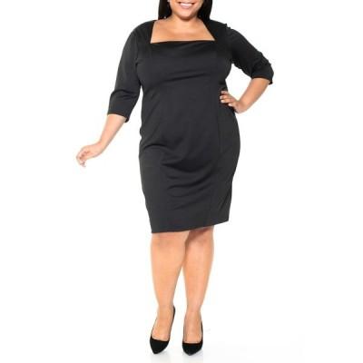 アレクシアアドマー レディース ワンピース トップス Marilyn Portrait Neck Sheath Dress BLACK