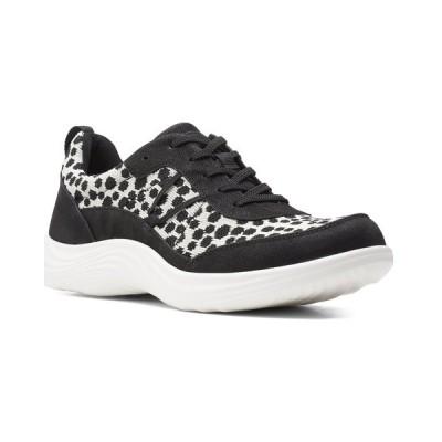 クラークス サンダル シューズ レディース Clarks Lulu Walk Sneaker black/white textile
