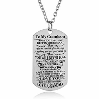 ネックレス YEEQIN Grandson ネックレス Love Grandson Dog Tag Believe Grandma Grandmother to Grandson 誕生日 卒業ギフト