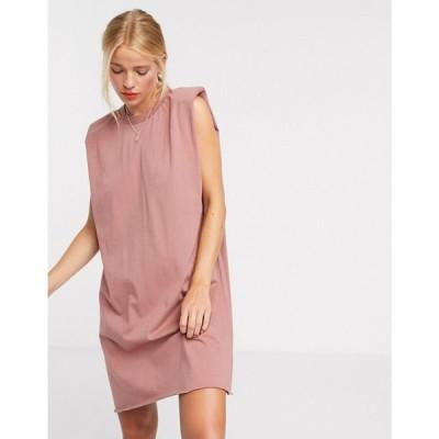 エイソス ASOS DESIGN レディース ワンピース Tシャツワンピース ノースリーブ ミニ丈 padded shoulder sleeveless mini t-shirt dress in taupe トープ